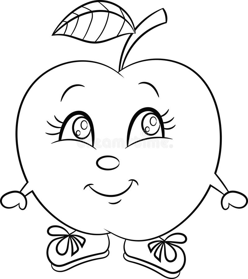Apple for coloring book stock vector. Illustration of