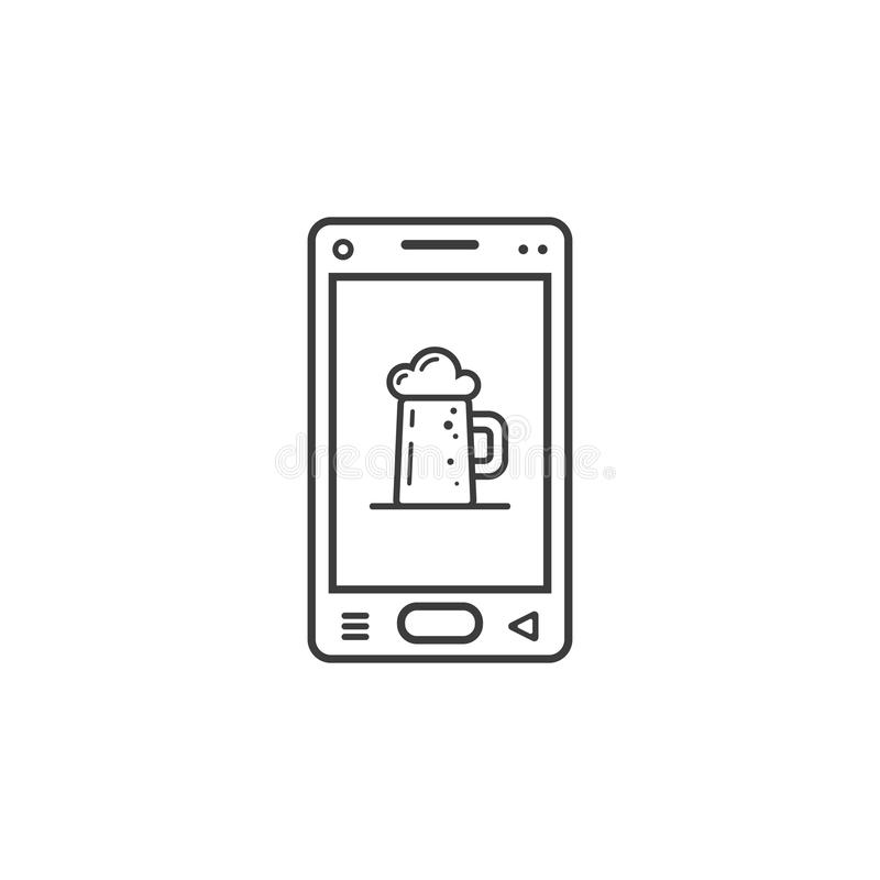 Beer On The Run With Smartphone Health Concept Cartoon