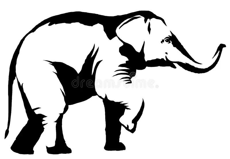 Elephants Holding Each Others Trunk Stock Illustration
