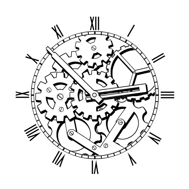 Black And White Mechanical Clock Stock Illustration