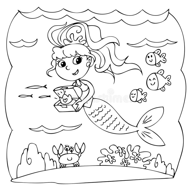 Black And White Mermaid Under Water Stock Illustration