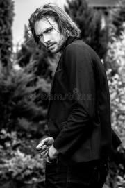 black-white outdoor portrait of