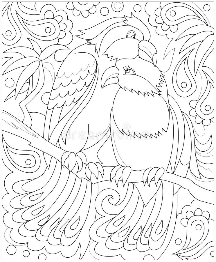 Black And White Page For Coloring. Fantasy Drawing Of