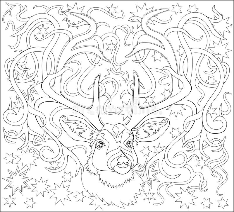 Black And White Page For Coloring. Fantasy Drawing Of Deer