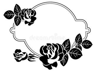 rose clipart clip roses frame round heart background stylized silhouettes raster engraving clipground