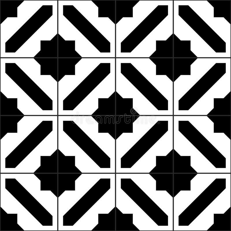 Black And White Simple Moroccan Tiles Seamless Pattern