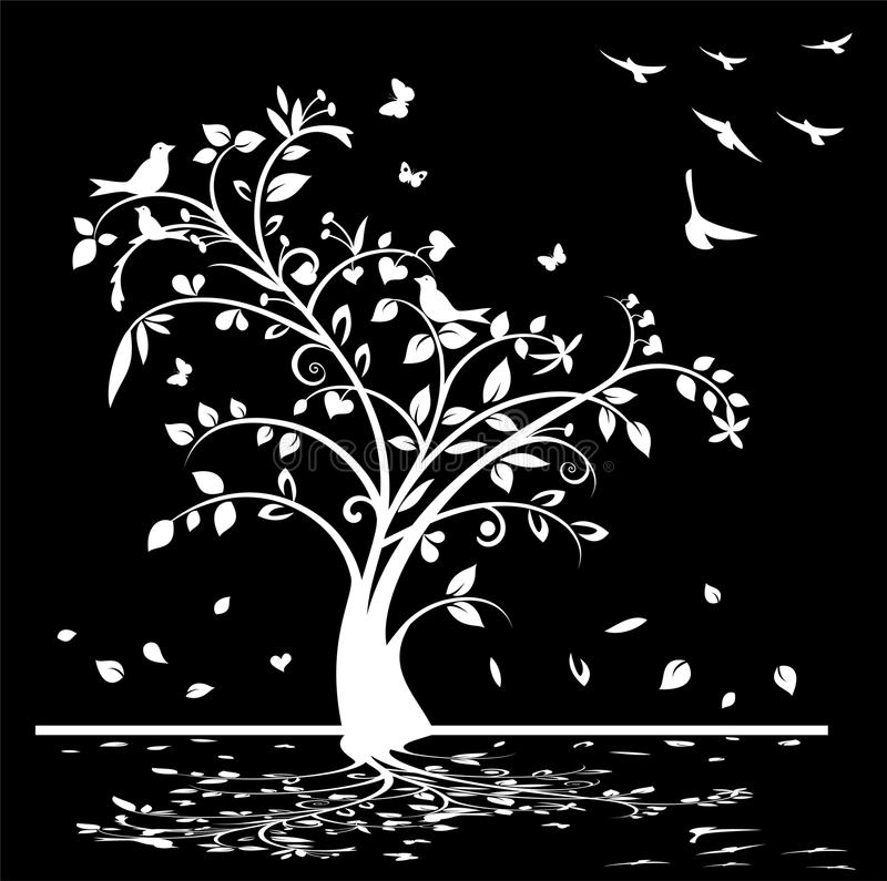 Iphone X Wallpaper Black Floral Black And White Tree With Birds And Butterflies Stock
