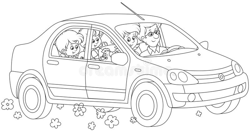 Family riding by car stock vector. Image of driver