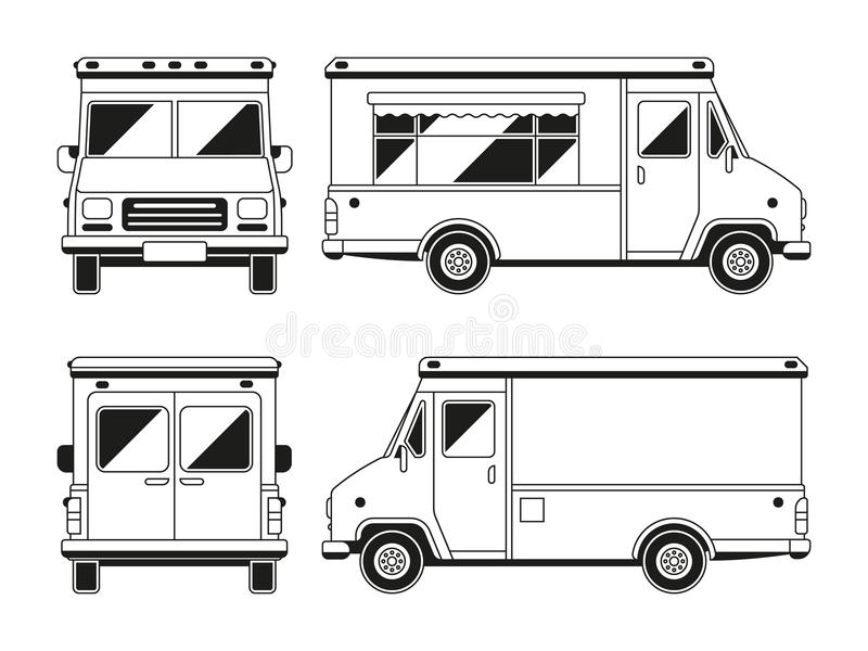 Blank Commercial Food Truck In Different Points Of View
