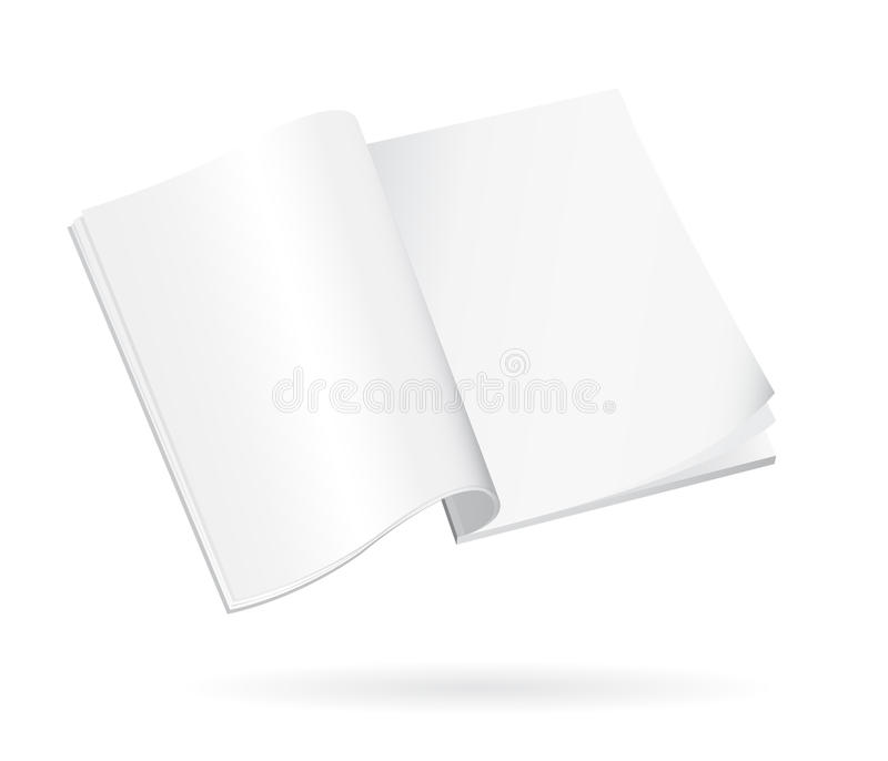 Book Or Magazine Open Blank Pages. Isolated 3D Vertical