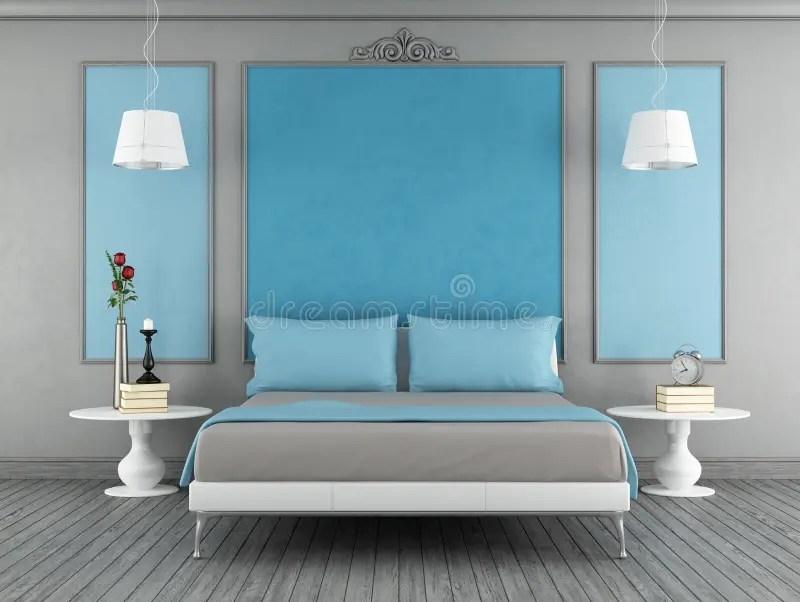 Download Blauwe En Grijze Slaapkamer Royalty Vrije Stock Afbeelding Afbeelding