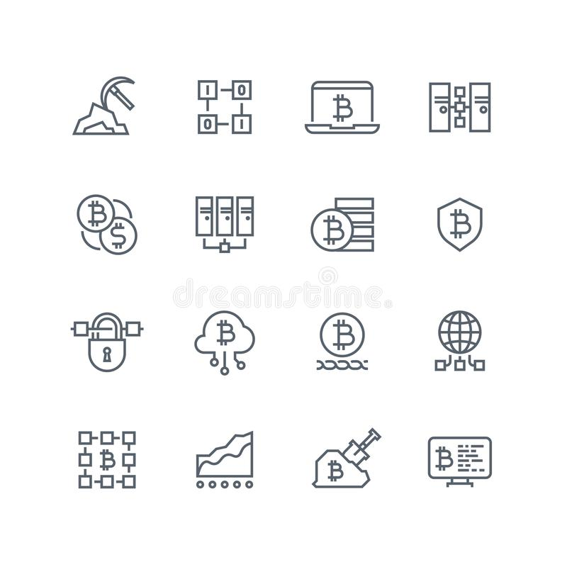 Blockchain And Cryptocurrency Line Vector Icons Stock