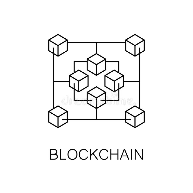 Blockchain Vector White Line Icon Stock Vector