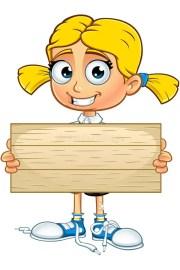 blonde school girl character stock