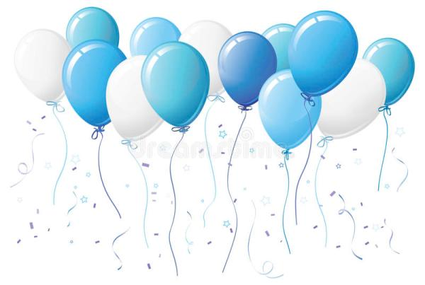 blue balloons with confetti stock