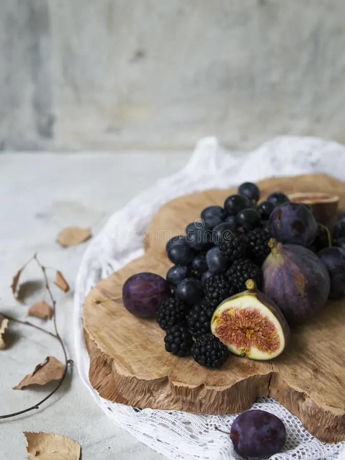 Bowl Blackberries Stock And Blueberries Raspberries
