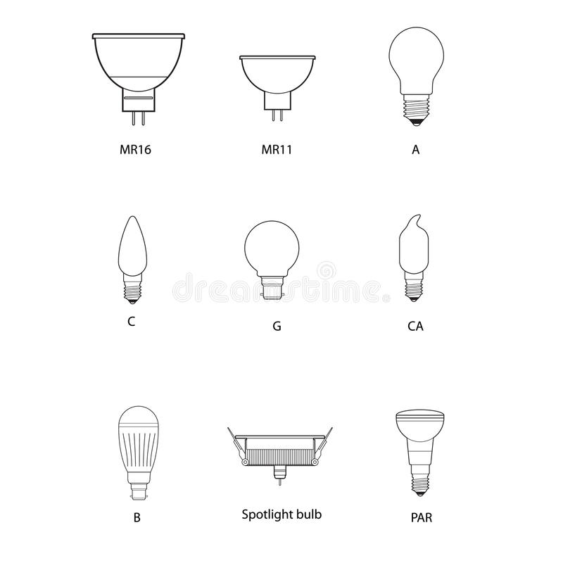 Blueprint, Technical Draw Of Different Bulb Socket Royalty