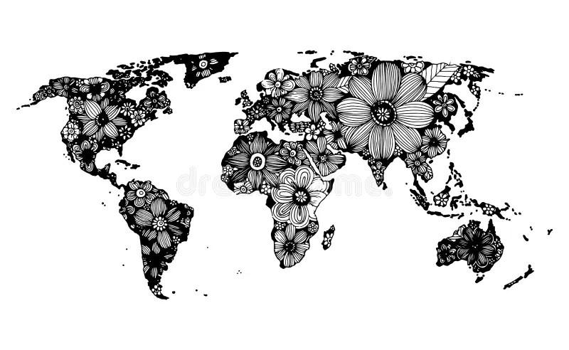 Blumenweltkarte Hand Gezeichnet Schwarzweiss Gekritzel