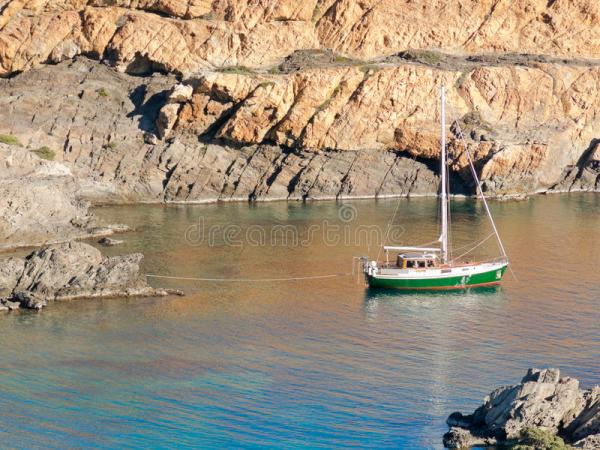 Boats On Mediterranean Bay. Spain Stock Photo - Image of ...