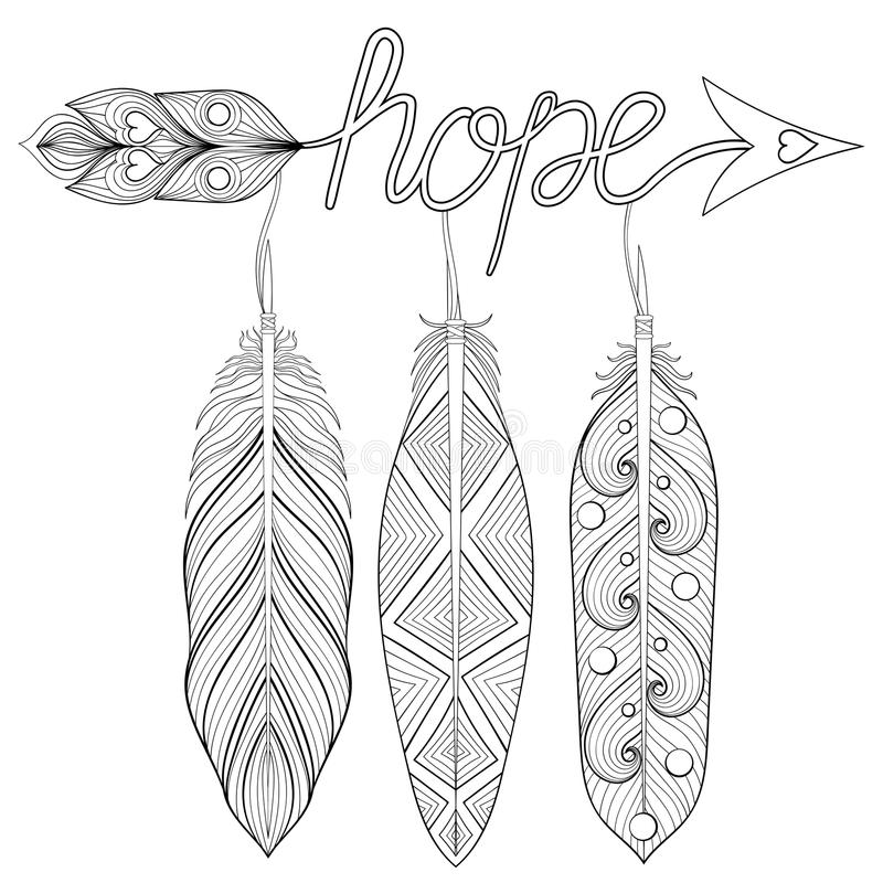 Bohemian Arrow, Hand Drawn Amulet With Letters Hope, With