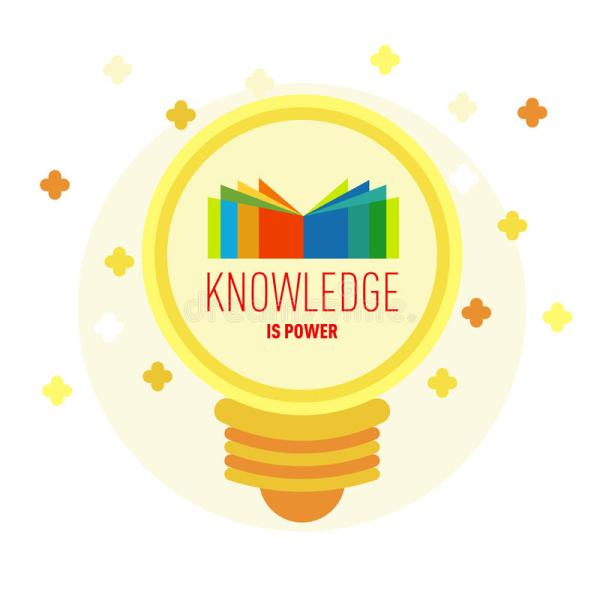 Book Logo In Lamp With Text Knowledge Power. Stock