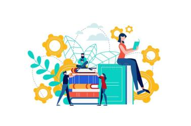 Book Reading People For Exam Study Or Group Work Stock Vector Illustration of flat book: 118264709