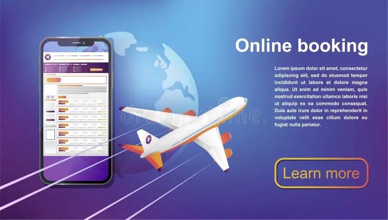 Booking Online Flights Travel. Buy Ticket Online. Stock Vector - Illustration of plane. concept: 122879417