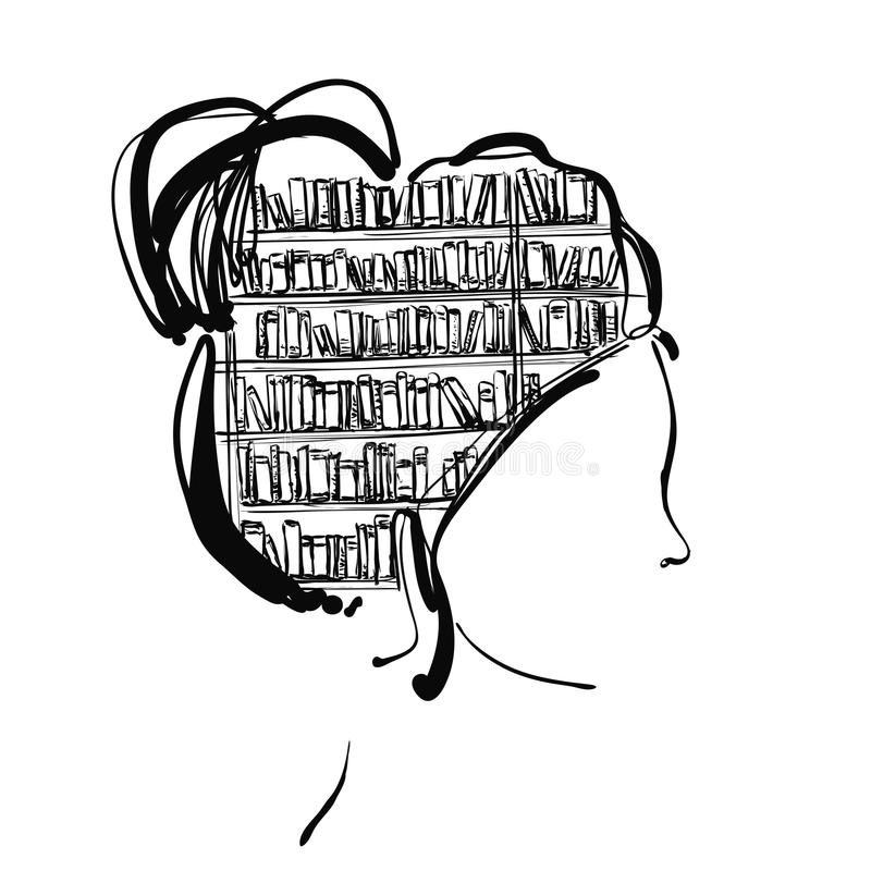 Vector Of Library Book Shelf Doodle Background Stock