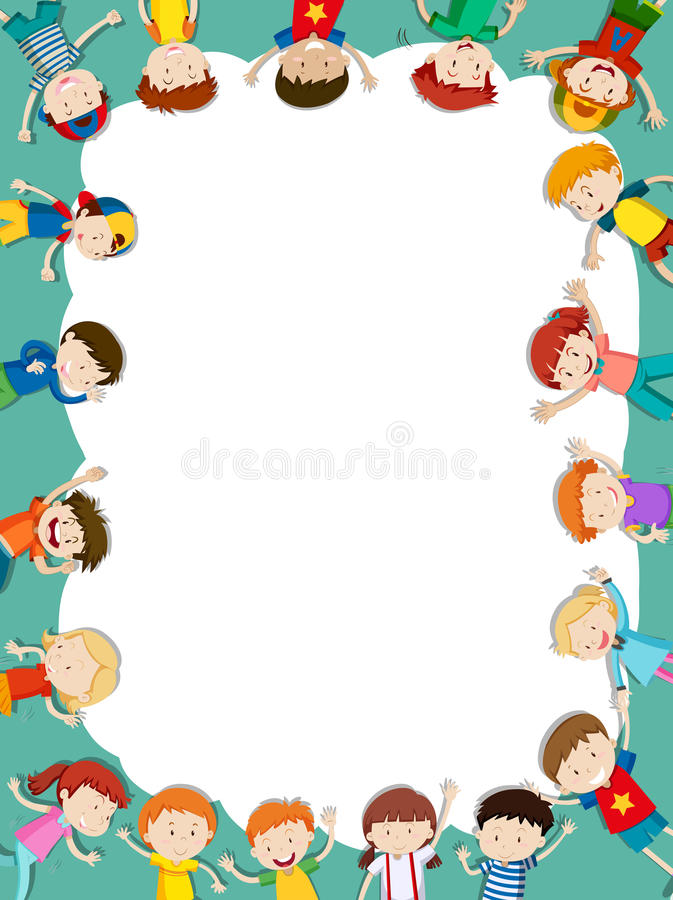 Border Template With Happy Children In Background Stock