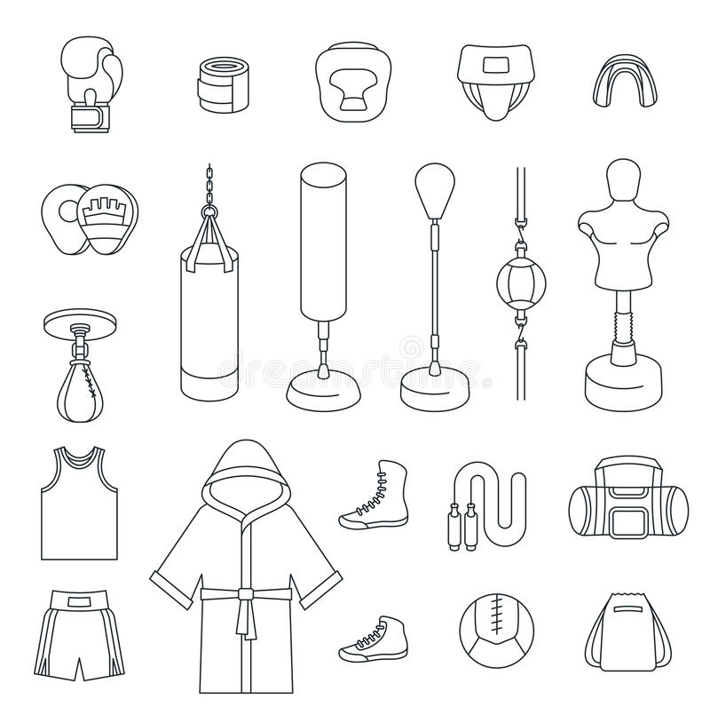 Boxing Icons Flat Vector Thin Line Icons Stock Vector