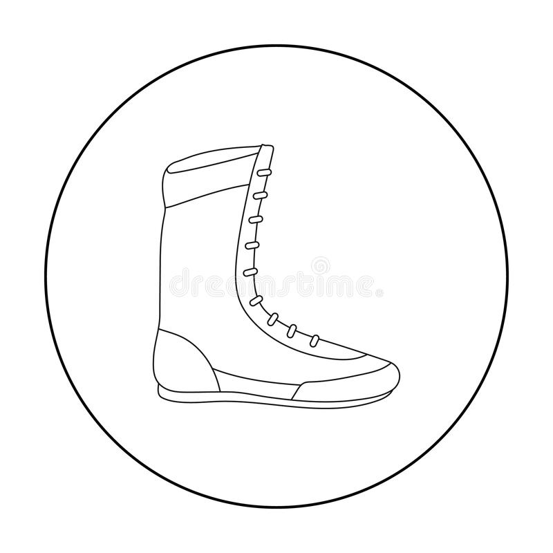 Boxing Shoes Icon In Outline Style Isolated On White