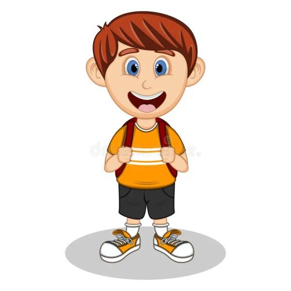 Cartoon Boy with Backpack