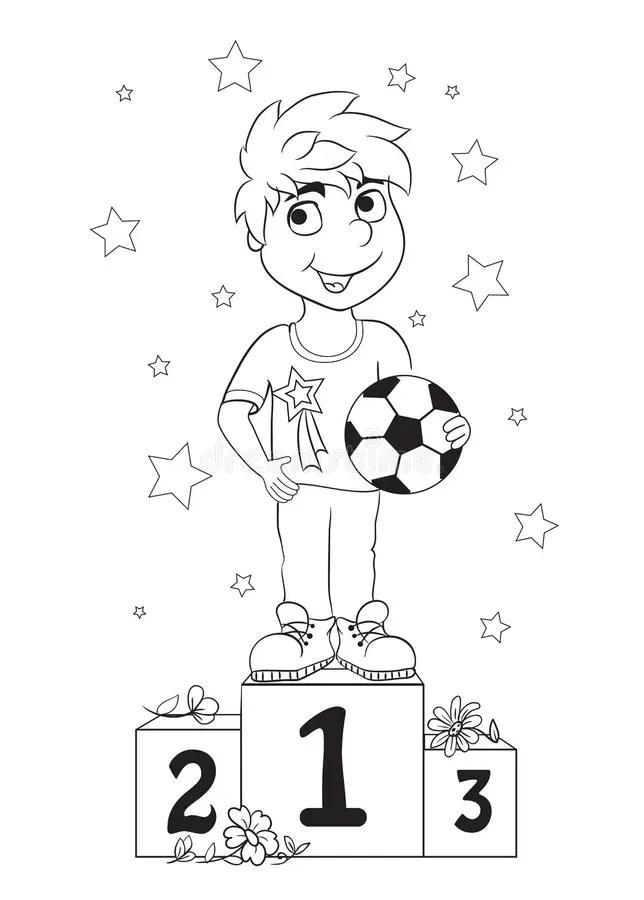 Boy Champion. Kids Coloring Book Stock Illustration