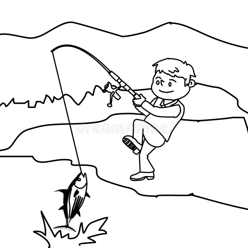 Boy Fishing Fish Coloring Page Stock Illustration
