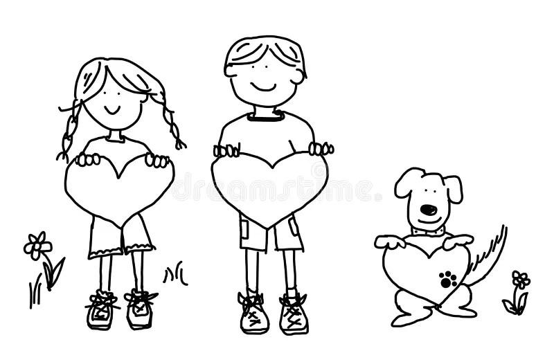 Boy Girl Dog Cartoon Outline With Heart Shape Stock