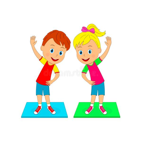 Boy And Girl Exercises Stock Vector - Illustration