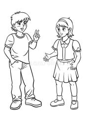 talking boy drawing clip standing hand illustration preview