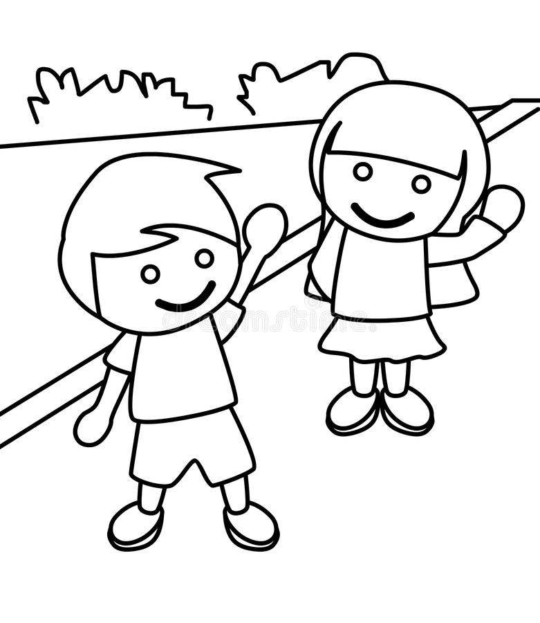 Boy And Girl Waving Coloring Page Stock Illustration