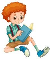 boy reading stock vector. illustration