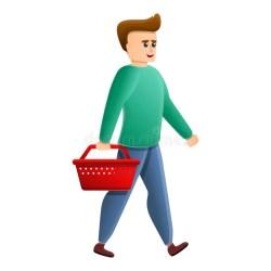 boy basket cartoon vector icon