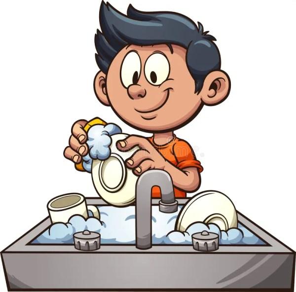 boy washing dishes stock vector