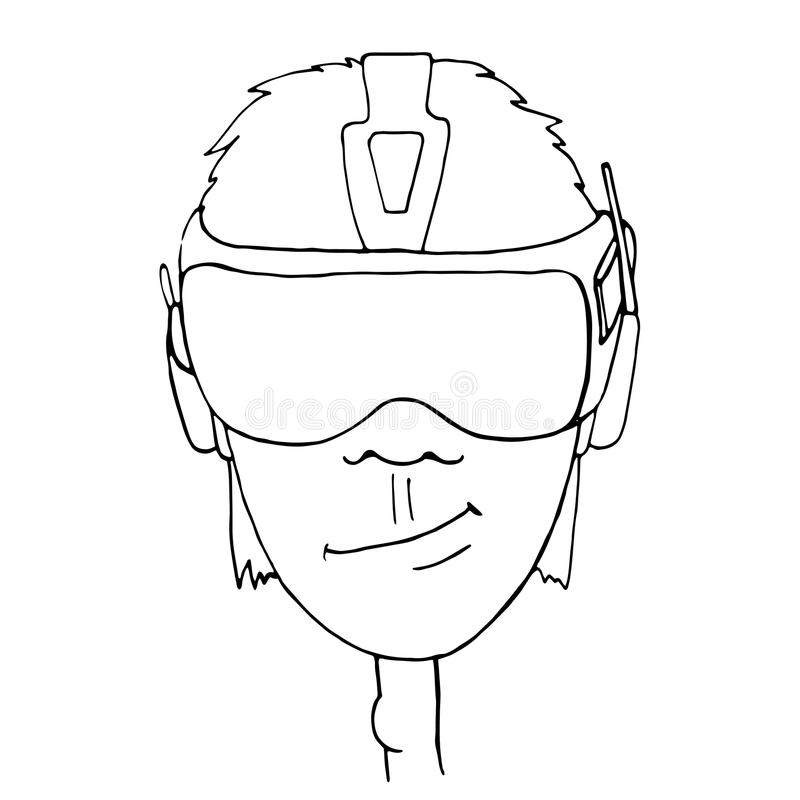 Man Wearing Virtual Reality Goggles Drawn Vector Vector
