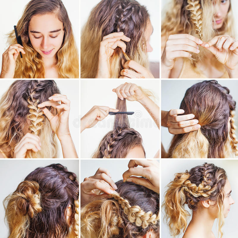 Braided Updo Tutorial For A Curly Hair Stock Image  Image