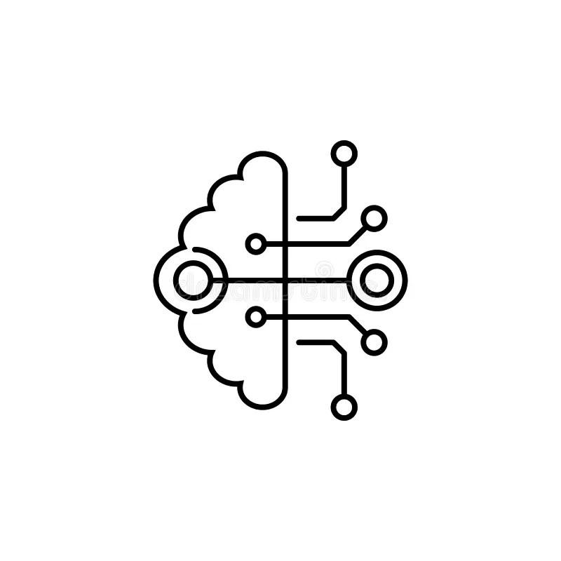 Brain Computer Interface stock illustration. Illustration