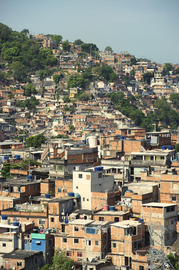 Brazilian Hillside Favela Shantytown Rio De Janeiro Brazil