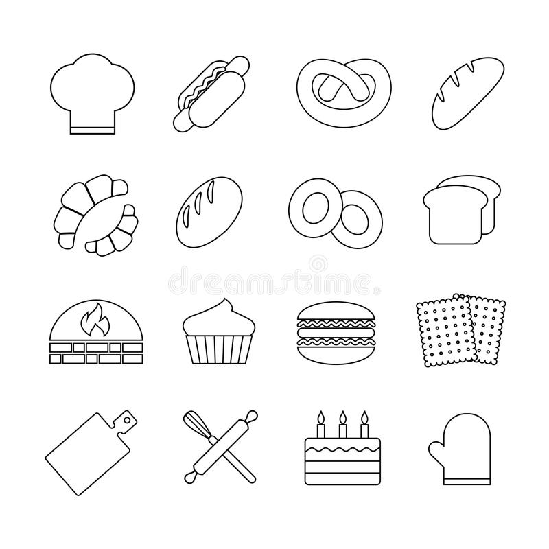 Bakery And Bread Vector Icons Set Stock Vector