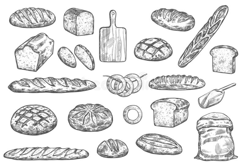 Bread And Buns Seamless Pattern For Bakery Design Stock