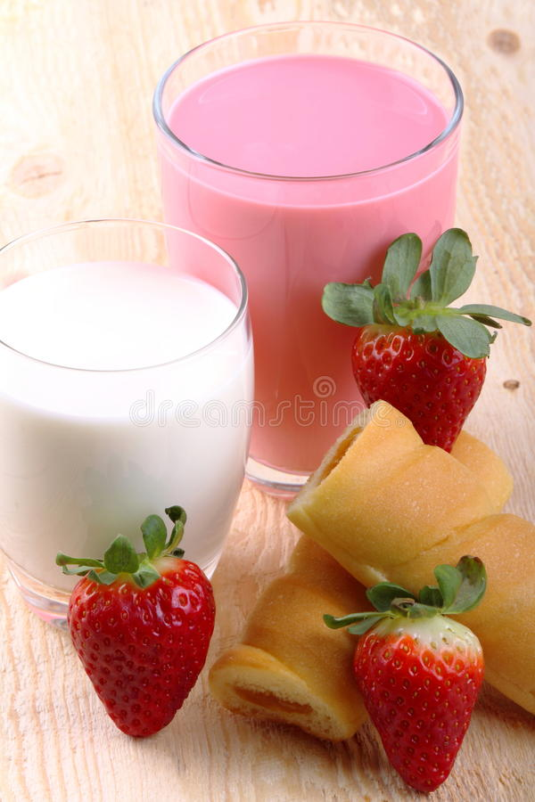 Breakfast With Milk Strawberry Smoothie And Afternoon ...