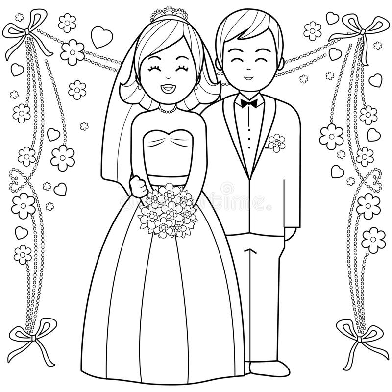 Bride And Groom Coloring Book Page. Stock Vector