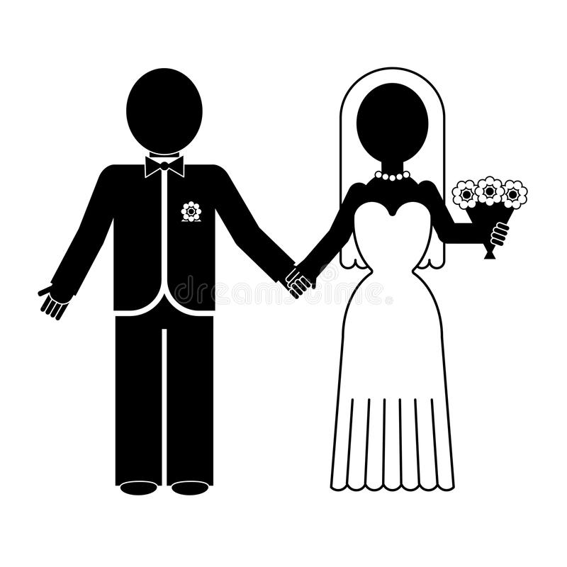 Bride And Groom Silhouette Vector Icon Stock Vector
